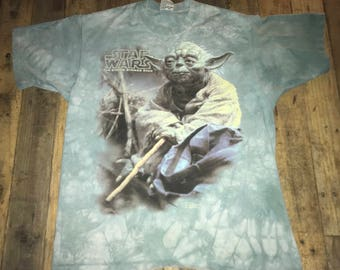 vintage Master Jedi Yoda real STAR WARS Liquid Blue Tie Dye Shirt
