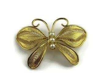 Napier Filigree Butterfly Brooch