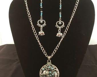 Antique Silver Filigree Elephant Locket and Earrings Set