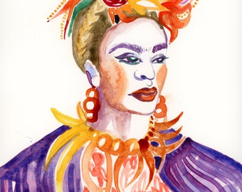 Watercolour Impression of Frida Kahlo (Original)