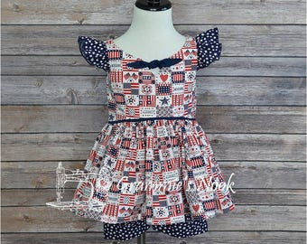 CLEARANCE! Girls Short Set, Red White & Blue Shorts Set, Toddler Girls Shorts Set, Patriotic Print, 4th of July, Summer, 4T Ready to Ship