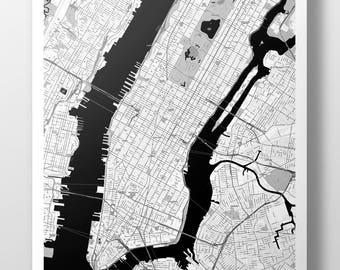 New York City, Manhattan Map Poster - B&W