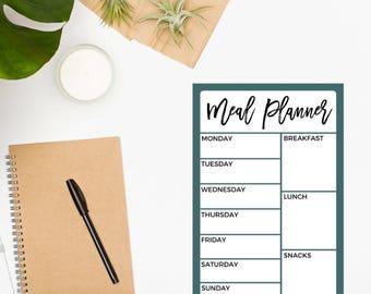 Weekly Meal Plan Notepad / Meal Planner / Meal Planning / Food Planner / Menu Planner / Meal Planner / Dinner Planner / Meal Tracker / Teal