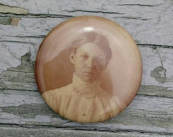 Antique mourning photo pinback button