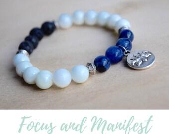 Serpentine and Sodalite Bracelet / everyday bracelet, meditation bracelets, energy bracelet,anti anxiety relief,cheer up gift,power bracelet