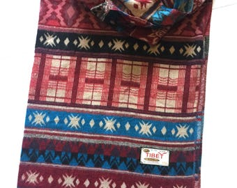 Tibetan Yak Wool Blend Shawl, Maroon and Teal, Aztec Design