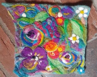 needle felted art, needle felt picture, felted flowers