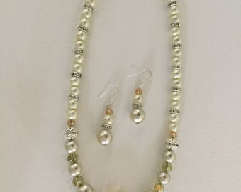 Citrine and Beige Glass bead Necklace and Earrings