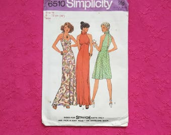Vintage 70s Simplicity Halter Neck Empire Line Maxi Mini Dress. Size 12-14 Bust 36""