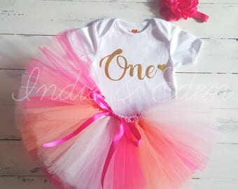 1st Birthday tutu Pink Rainbow baby girls first headband babysuit birthday  personalised one set photo prop cake smash