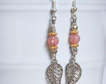 Silver Tone Leaf Dangle Beaded Earrings