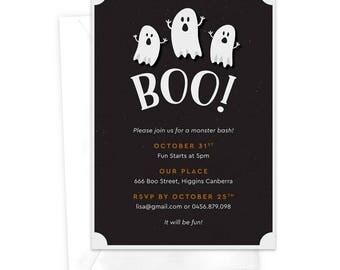 Boo! Halloween Party Invitation / Ghost Halloween Invitation / Children's Halloween Invitation / Haunted House Invite / Printable Invitation