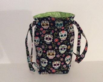 Makeup Artist Drawstring Trash Bag, Sugar Skulls