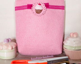 Cupcake Pen Case-eyewear case-Valentine's Day gift-pencil case-girlfriend gift-felt clutch bag