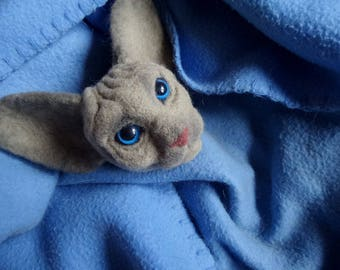 Needle felting Sphynx cat Felt animal sculpture Cat portrait Pet loss gifts idea Needle felted wool sculpture Cat head custom
