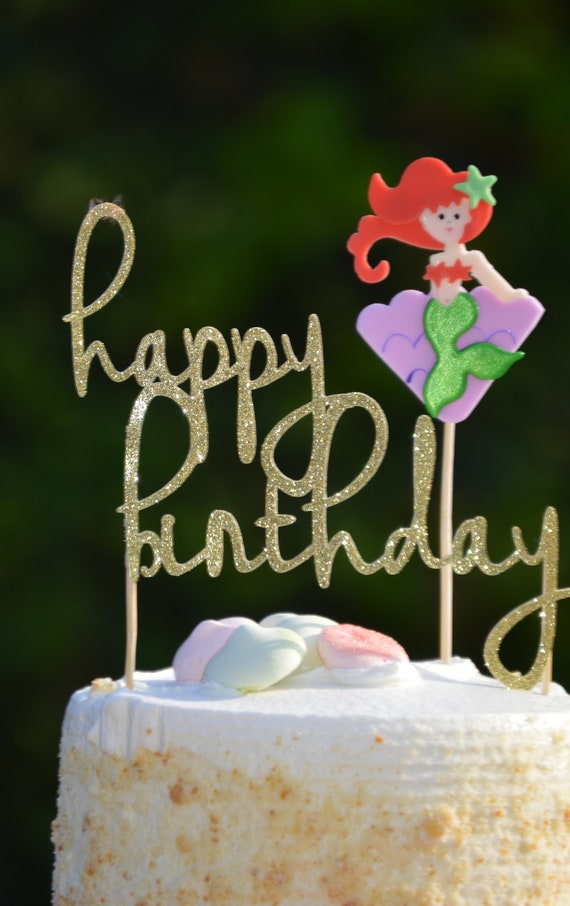 Mermaid Cake TopperHappy Birthday TopperAriel