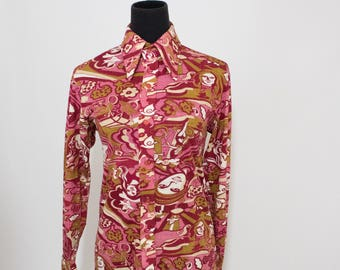 Vintage 70s Womens Small Psychedelic Disco Print Button Up Shirt Blouse