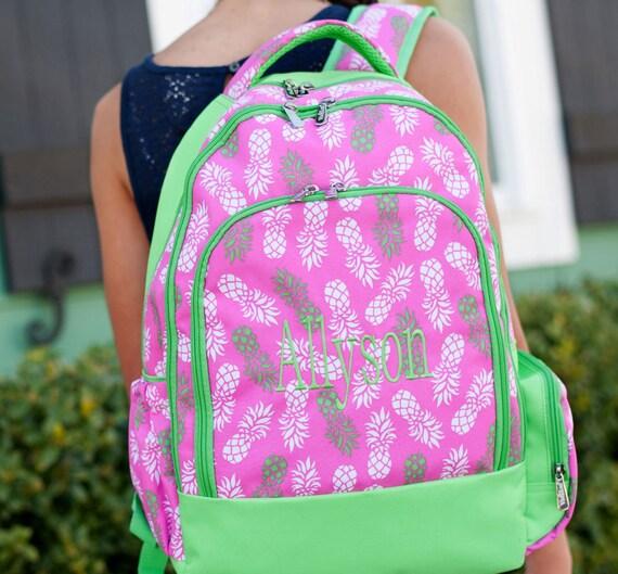 Girls Monogrammed Bookbag - Pineapples