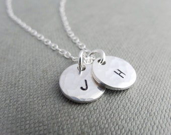 Hammered initial necklace - letter necklace, initial necklaces for women, personalised letter necklace, bridesmaid gift, sterling silver