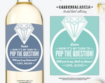 My Turn to POP the Question Wine Label, Ask Bridesmaid Card, Maid of Honor Proposal, Custom Wedding Wine Label, Be My Bridesmaid Wine Label
