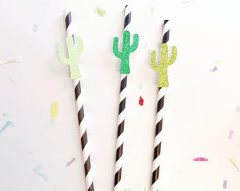 25pc Cactus Party Straw, Paper Straw, Cactus Birthday Party, Cacti Party Straw decor