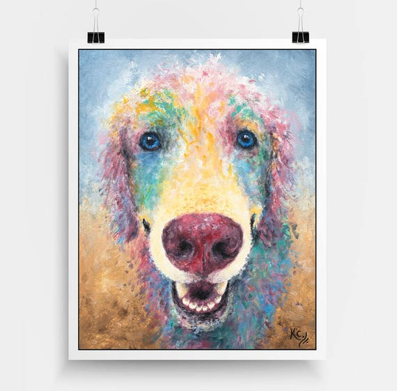 "Golden Retriever Art Print - Print of My Dog Painting ""Kansas Jayhawk"". Colorful Dog Art, Dog Wall Art, Dog Art Print, Dog Portrait."