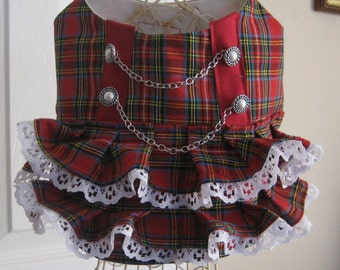 Beautyful ruffle/lace red plaid Dirndl Puppy Dress for Small Dogs