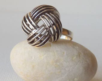 Sterling Silver Knot Ring Modern Silver Puffy Knot Ring Size 6.5, Boho Sterling Jewelry, Wired Statement 925 Ring, Vintage Sterling  Ring
