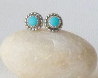 Sterling Silver Turquoise Earrings, Vintage Blue Stud Earrings, Southwestern Turquoise Jewelry, Blue Turquoise Minimalist Studs, 925 Silver