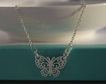 Sterling Silver Butterfly necklace. Dainty Silver Butterfly necklace. Filigree Butterfly necklace. Layering Silver necklace