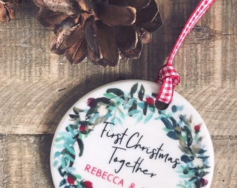 Personalised First Christmas Together Christmas Decoration Wreath....Round Ceramic ... - Tree Decoration - Ornament