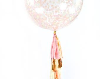 "36"" Blushing Peony Balloon, Giant Clear Balloon, Confetti Balloon, Tassel Balloon, First Birthday Wedding Balloon Bridal Shower Baby Shower"