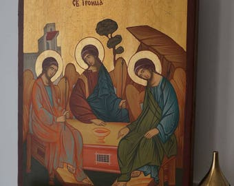 The Holy Trinity Andrei Rublev Handpainted Byzantine Orthodox Icon on Wood