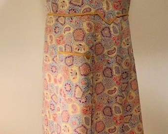 Vintage Cotton Paisley Floral Print Pinny|Apron|Overall