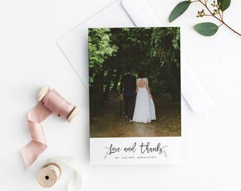 Printable Wedding Thank You Card with Photo, Greenery Thank You Wedding Postcard, Photo Thank You Cards, Wreath Thank You Wedding Cards PDF
