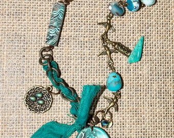 Bird Lover's Teal Necklace
