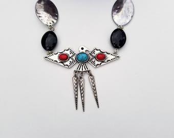 Southwestern Native American Thunderbird Necklace, Southwestern Jewelry, Native American Jewelry, Black Gemstone, Pendant, Birds, Silver