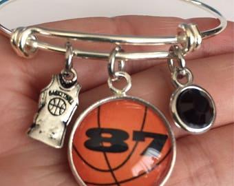 Basketball bracelet-basketball bangle bracelets cabochon-personalized basketball bracelet