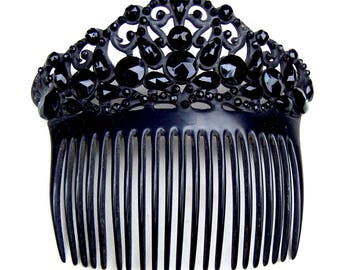 French jet hair comb Victorian mourning hair accessory decorative comb hair jewelry hair ornament headpiece