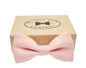 Handmade Linen Bow Tie in Pastel Pink - Adult & Junior sizes available