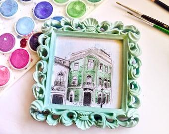 Original Mini Watercolor Painting, Portugal Architecture, Original Painting, Paintling, Pastel Mint, Watercolor Art, Small Gift