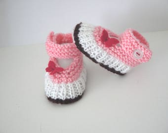 Babies booties baby shoes 0/1 month Baby Pink Purple White Butterfly shoes