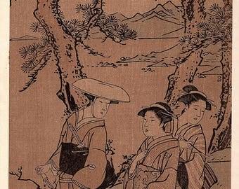 1906, Japanese antique woodblock print, Katsukawa Shunei, from Ukiyoe-ha-gashu.