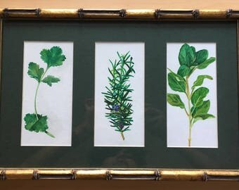 Cilantro, Rosemary, and Oregano Watercolor