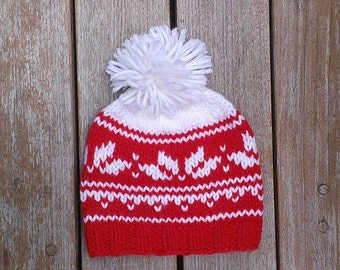 Fair isle baby hat, Knit Fair Isle Hat, Nordic beanie, Pom Pom Hat, Norwegian hat, Christmas Hat, Nordic hat, Winter Hat, Christmas hat
