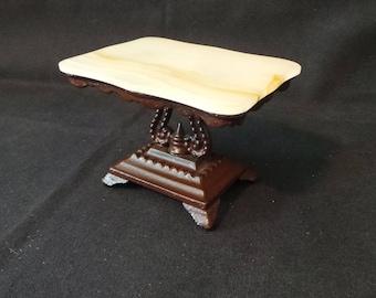 Antique Vintage J & E Stevens Dollhouse Miniature Heavy Cast Metal Agate Stone Topped Victorian Style Hall Table