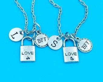 Best friend necklace, love lock neckalce, personalized necklace, bff necklace, love lock charm necklace, key & lock necklace pendant chain