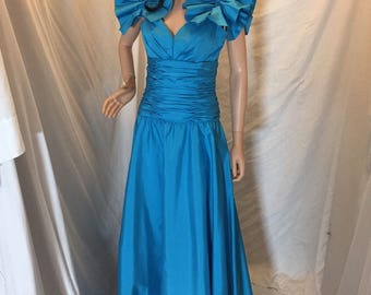 Vintage Alyce Designs Formal Evening Gown Dress with Puff Sleeves Aqua Blue Full Length