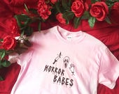 Horror Babes - White or Pink Halloween T-Shirt - Unisex Sizes