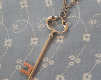 Large Silver Key Pendant Necklace